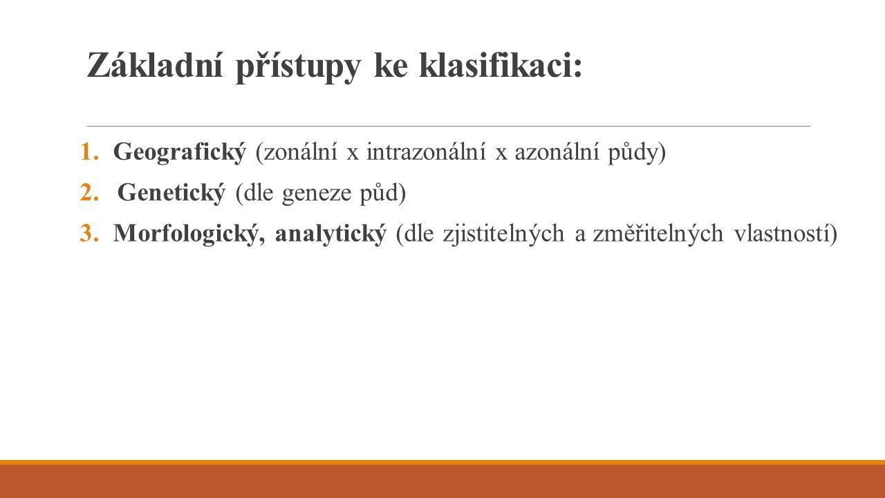 Základní přístupy ke klasifikaci: