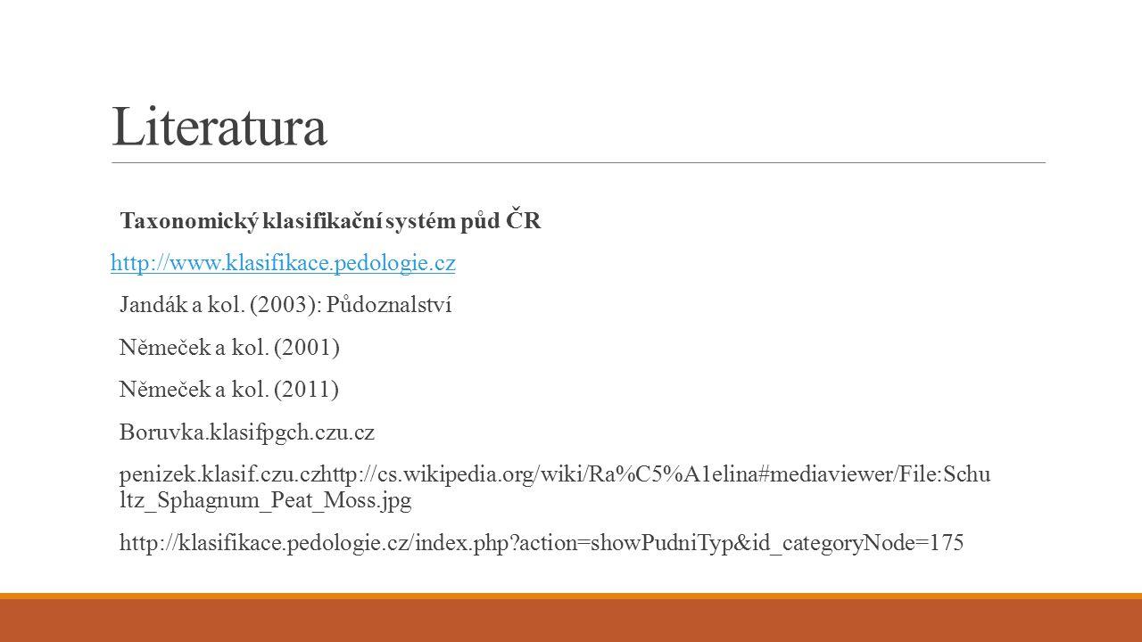 Literatura Taxonomický klasifikační systém půd ČR