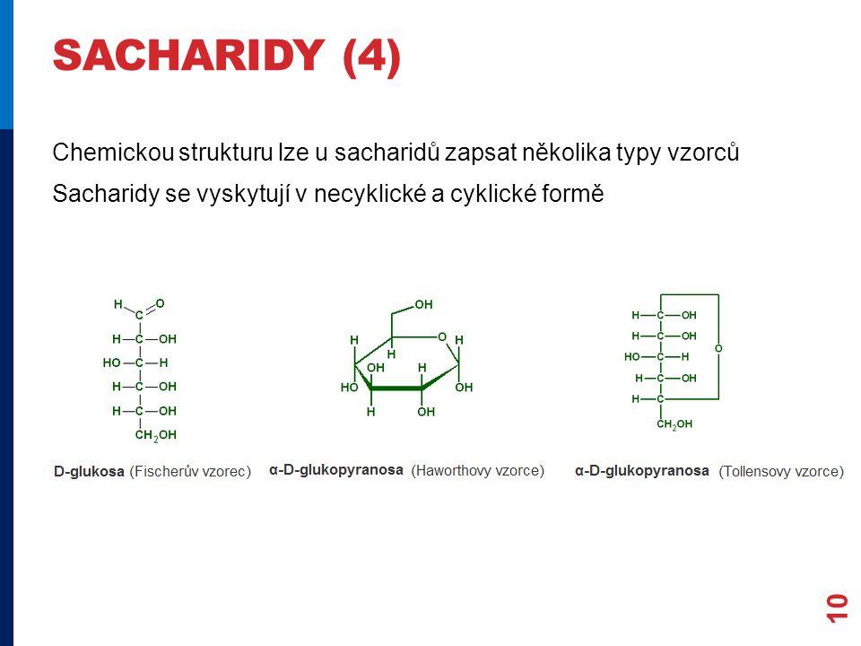 sacharidy (4) Chemickou strukturu lze u sacharidů zapsat několika typy vzorců Sacharidy se vyskytují v necyklické a cyklické formě