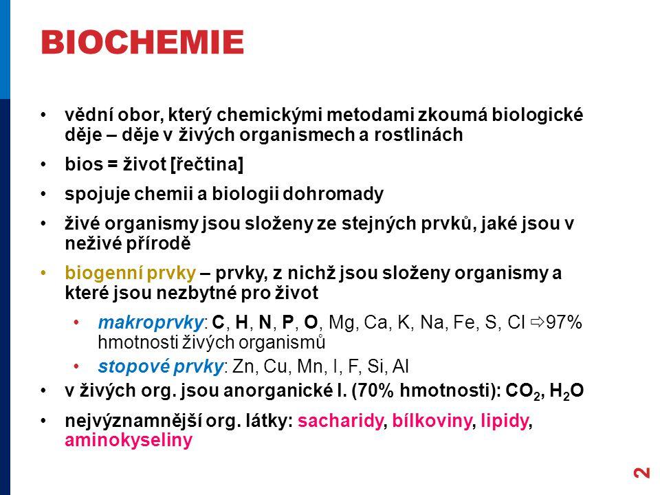 biochemie vědní obor, který chemickými metodami zkoumá biologické děje – děje v živých organismech a rostlinách.