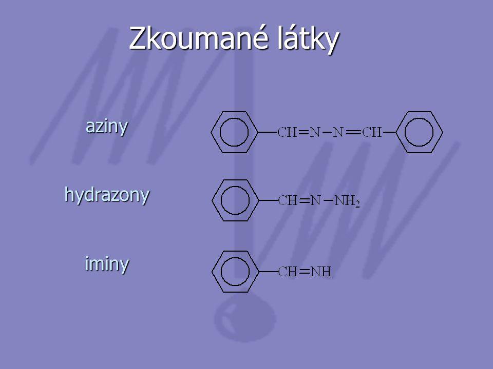 Zkoumané látky aziny hydrazony iminy