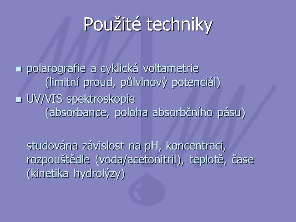 Použité techniky polarografie a cyklická voltametrie (limitní proud, půlvlnový potenciál)