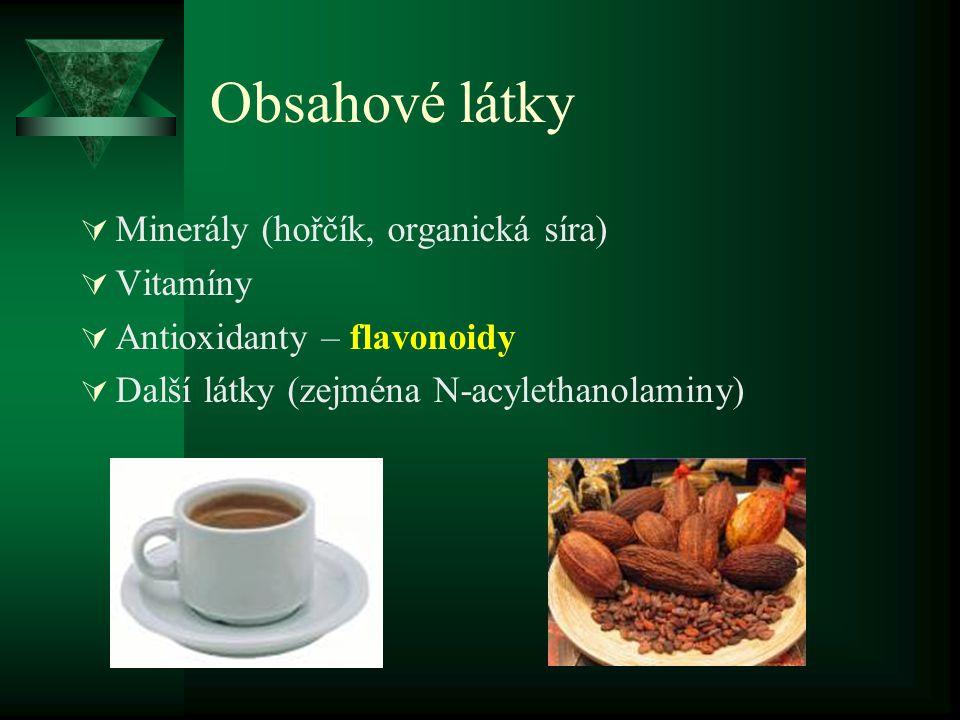 Obsahové látky Minerály (hořčík, organická síra) Vitamíny