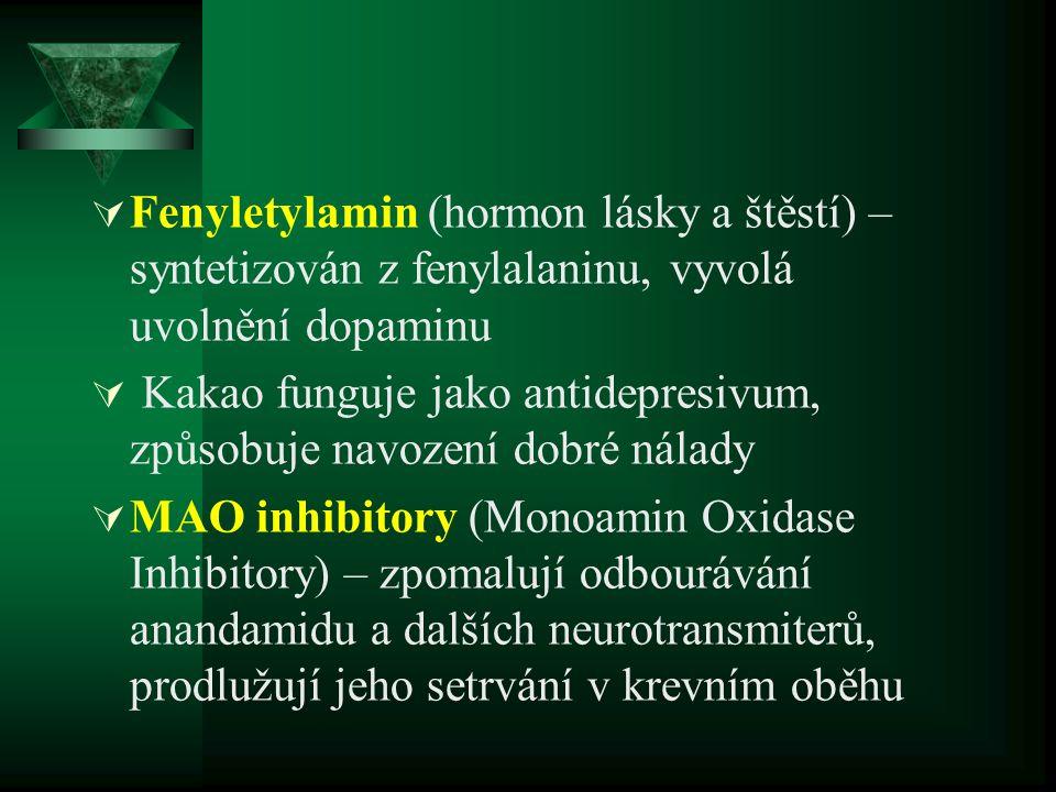Fenyletylamin (hormon lásky a štěstí) – syntetizován z fenylalaninu, vyvolá uvolnění dopaminu