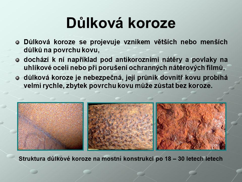 Důlková koroze Důlková koroze se projevuje vznikem větších nebo menších důlků na povrchu kovu,