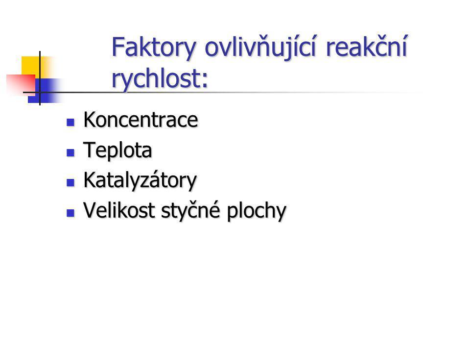 Faktory ovlivňující reakční rychlost: