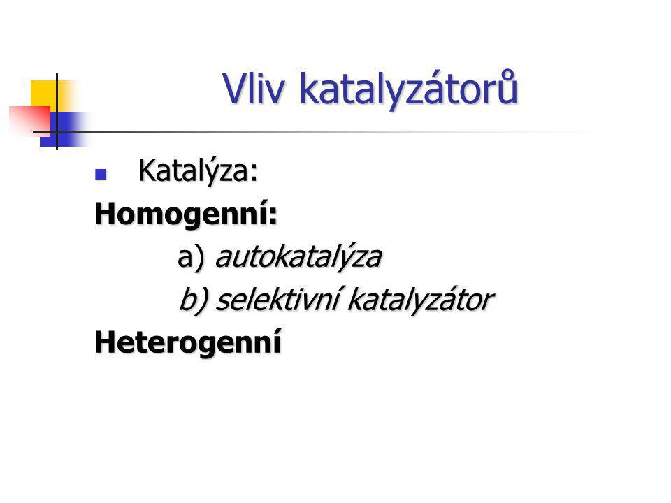 Vliv katalyzátorů Katalýza: Homogenní: a) autokatalýza
