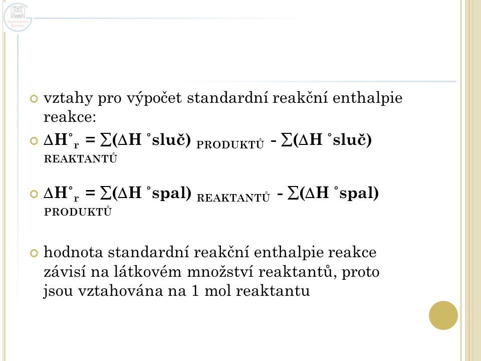 vztahy pro výpočet standardní reakční enthalpie reakce:
