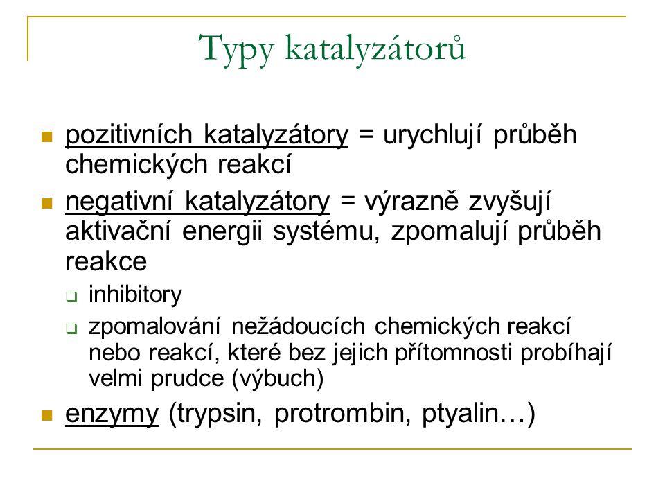 Typy katalyzátorů pozitivních katalyzátory = urychlují průběh chemických reakcí.