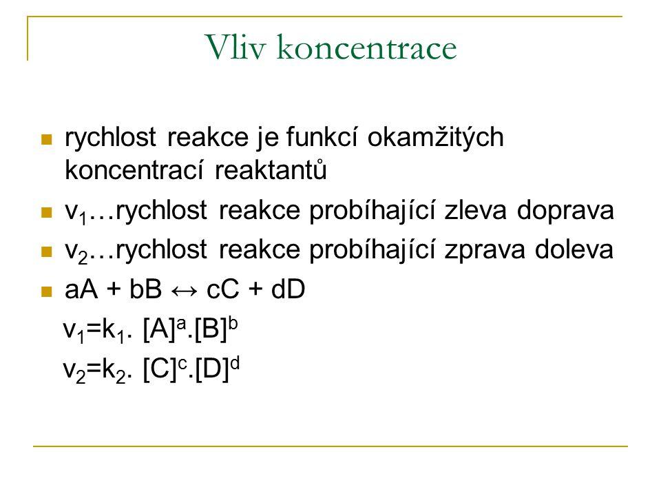 Vliv koncentrace rychlost reakce je funkcí okamžitých koncentrací reaktantů. v1…rychlost reakce probíhající zleva doprava.