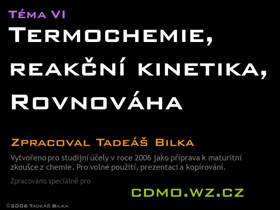 Termochemie, reakční kinetika, Rovnováha