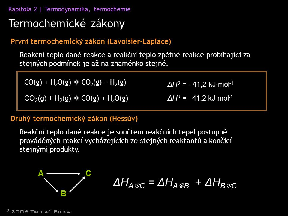 Termochemické zákony ΔHAC = ΔHAB + ΔHBC A C B