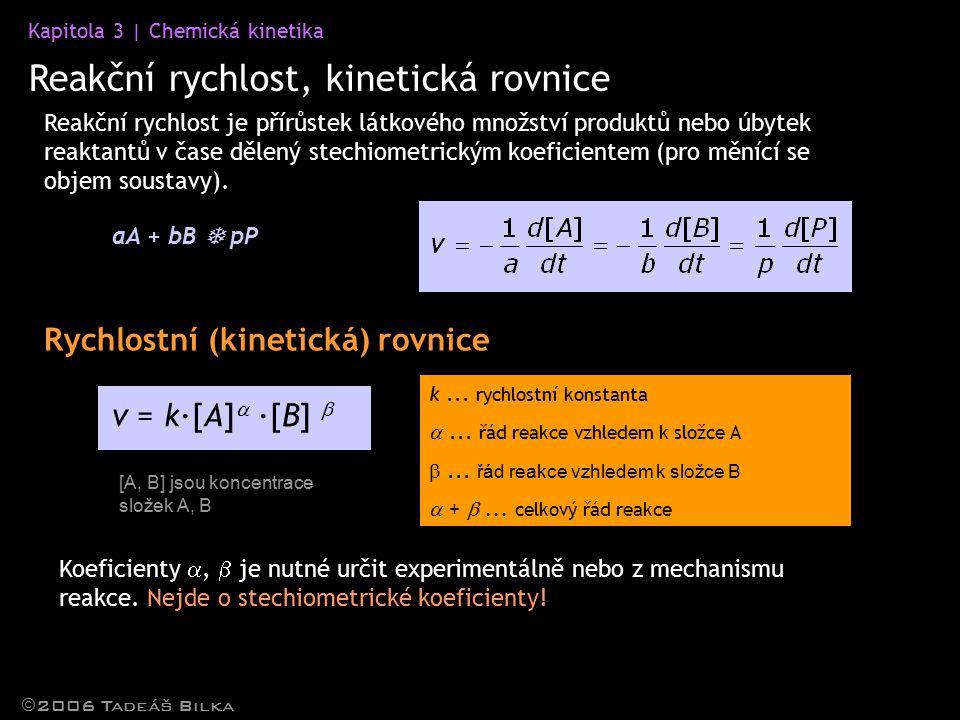 Reakční rychlost, kinetická rovnice