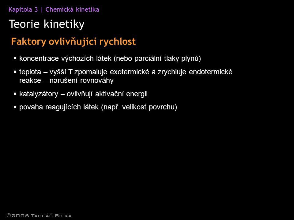 Teorie kinetiky Faktory ovlivňující rychlost