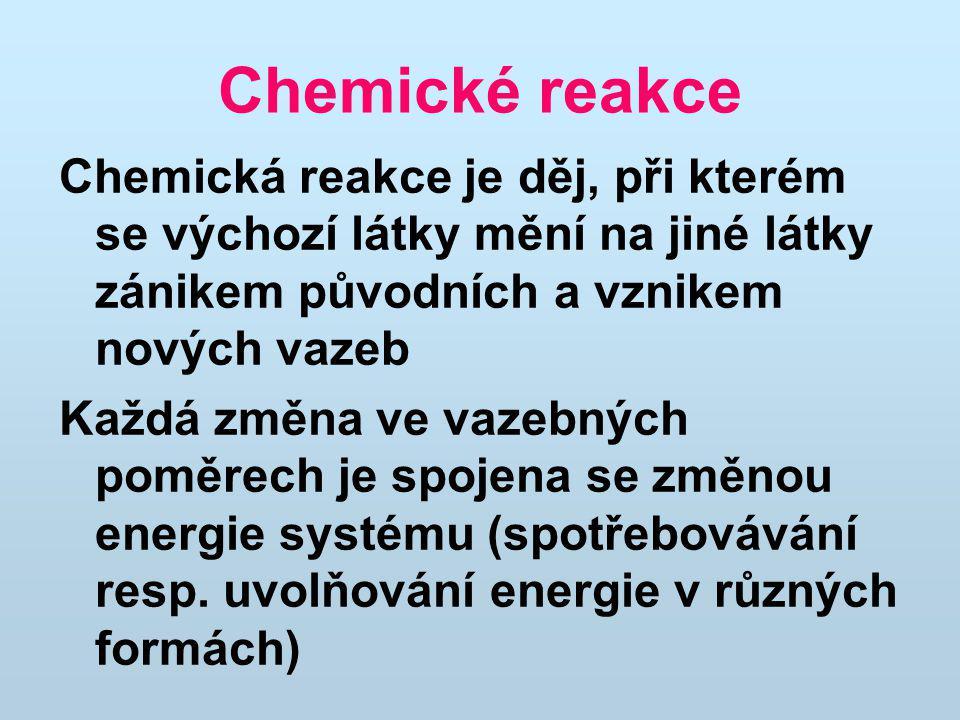Chemické reakce Chemická reakce je děj, při kterém se výchozí látky mění na jiné látky zánikem původních a vznikem nových vazeb.
