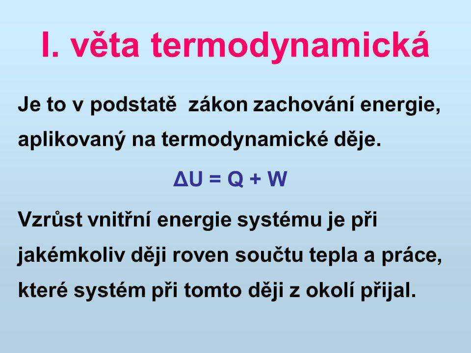 I. věta termodynamická Je to v podstatě zákon zachování energie, aplikovaný na termodynamické děje.