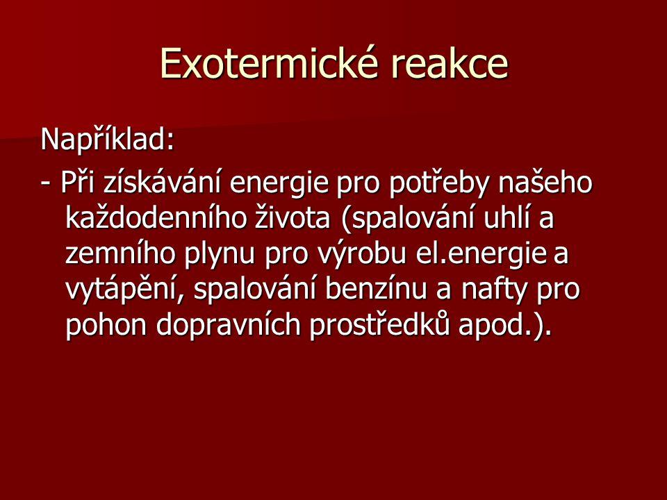 Exotermické reakce Například: