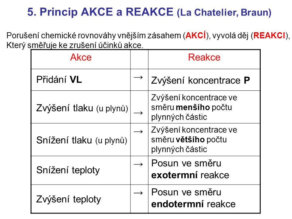 5. Princip AKCE a REAKCE (La Chatelier, Braun)
