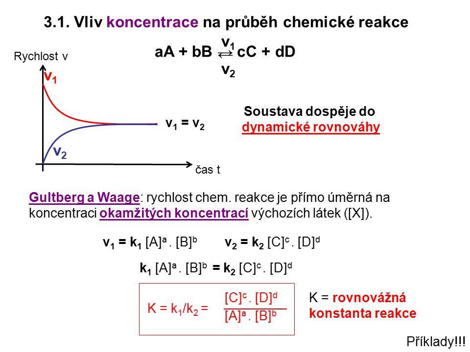 3.1. Vliv koncentrace na průběh chemické reakce v1 aA + bB → cC + dD →