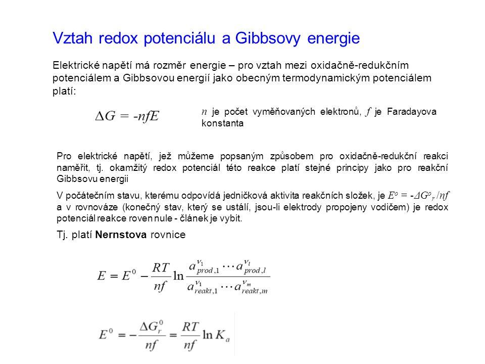 Vztah redox potenciálu a Gibbsovy energie