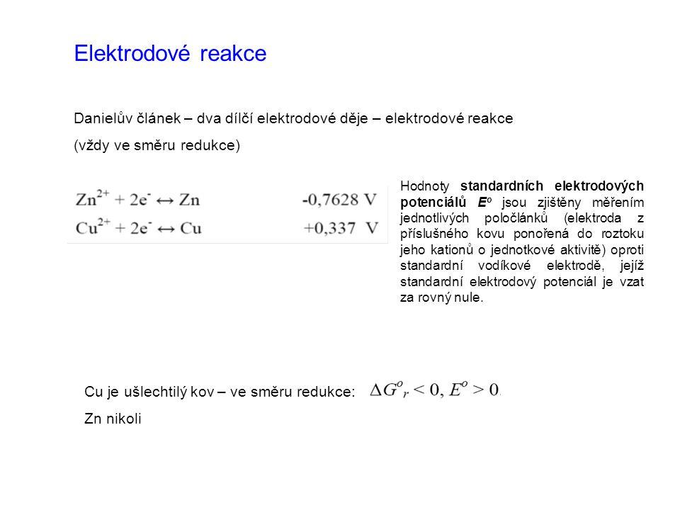 Elektrodové reakce Danielův článek – dva dílčí elektrodové děje – elektrodové reakce. (vždy ve směru redukce)