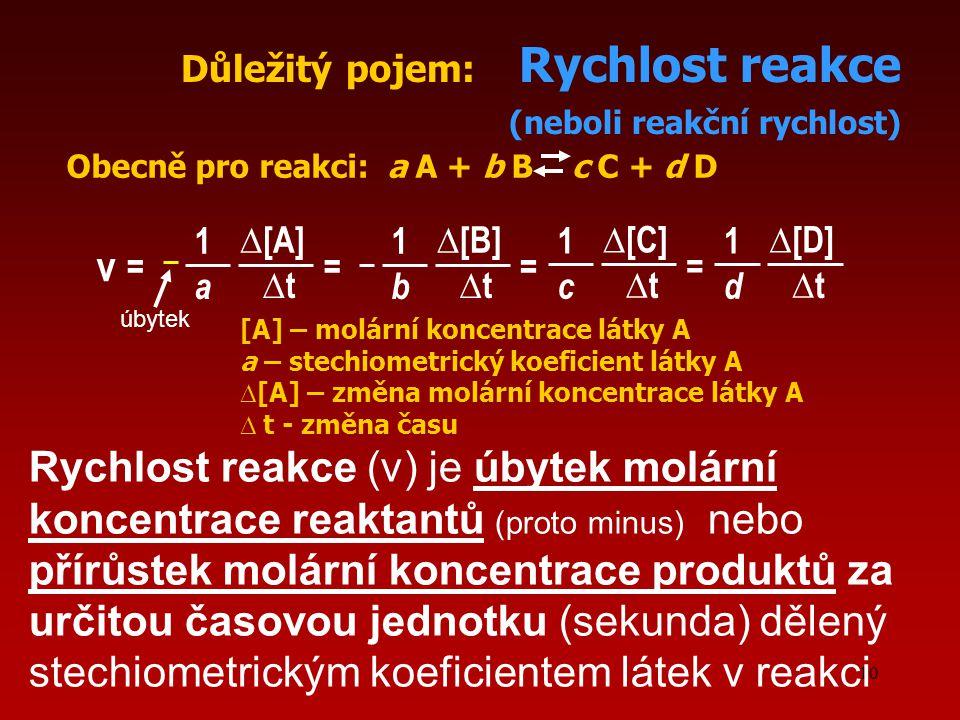 Důležitý pojem: Rychlost reakce (neboli reakční rychlost)