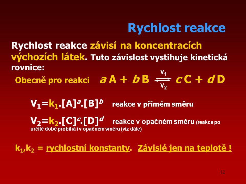 Rychlost reakce Rychlost reakce závisí na koncentracích výchozích látek. Tuto závislost vystihuje kinetická rovnice: