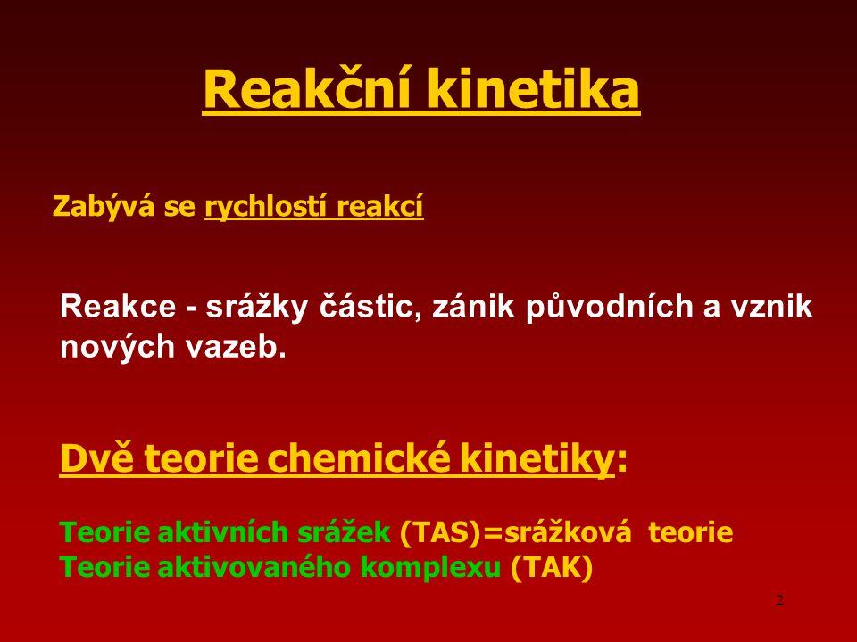 Reakční kinetika Dvě teorie chemické kinetiky: