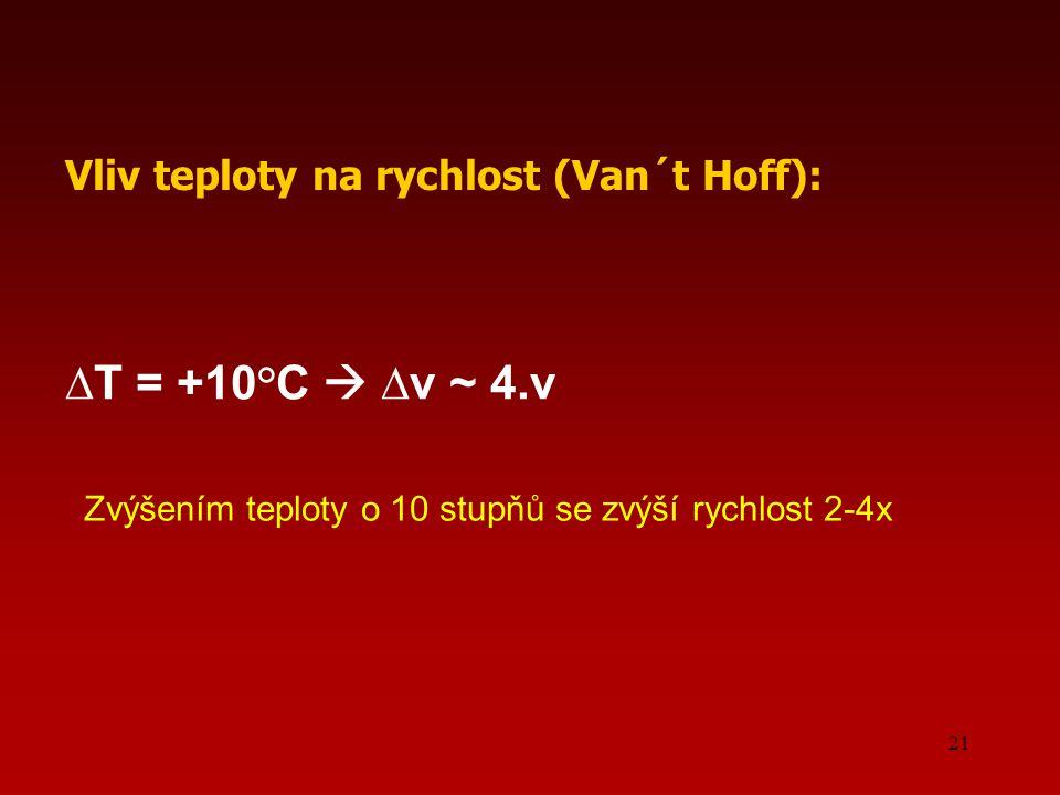 ∆T = +10°C  ∆v ~ 4.v Vliv teploty na rychlost (Van´t Hoff):