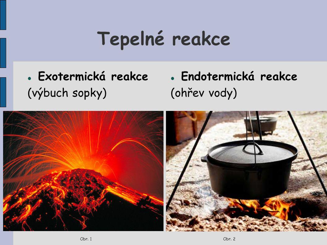Tepelné reakce Exotermická reakce (výbuch sopky) Endotermická reakce