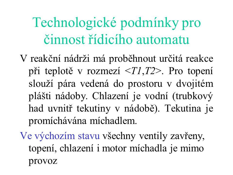 Technologické podmínky pro činnost řídicího automatu