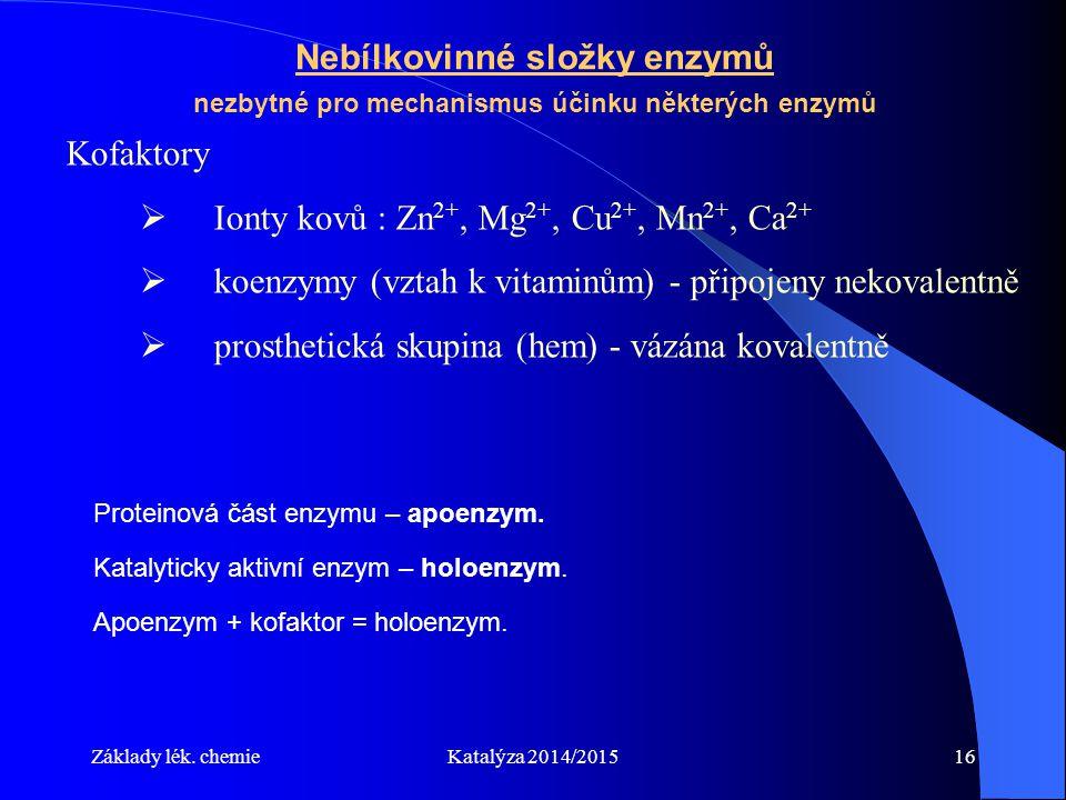 Ionty kovů : Zn2+, Mg2+, Cu2+, Mn2+, Ca2+