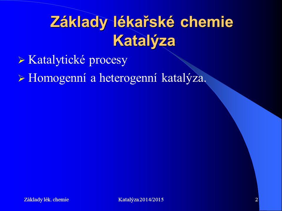 Základy lékařské chemie Katalýza