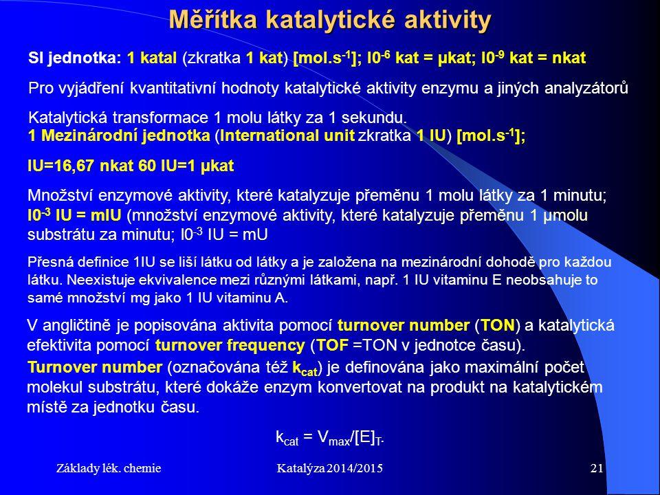 Měřítka katalytické aktivity