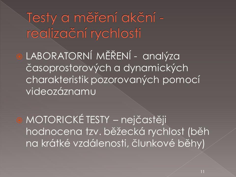 Testy a měření akční - realizační rychlosti