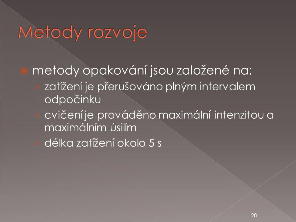 Metody rozvoje metody opakování jsou založené na: