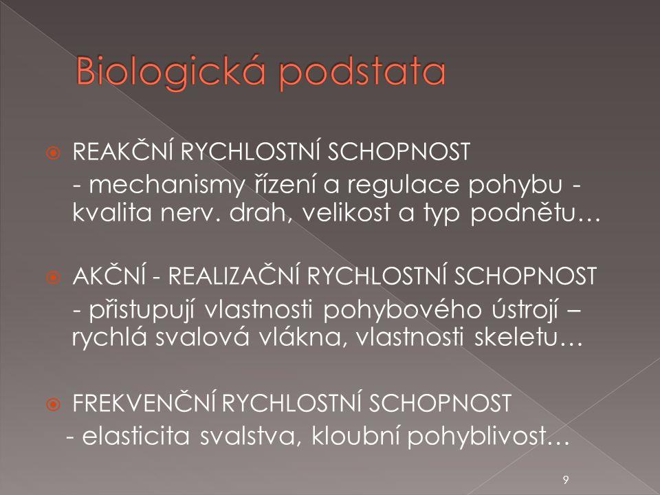 Biologická podstata REAKČNÍ RYCHLOSTNÍ SCHOPNOST. - mechanismy řízení a regulace pohybu - kvalita nerv. drah, velikost a typ podnětu…