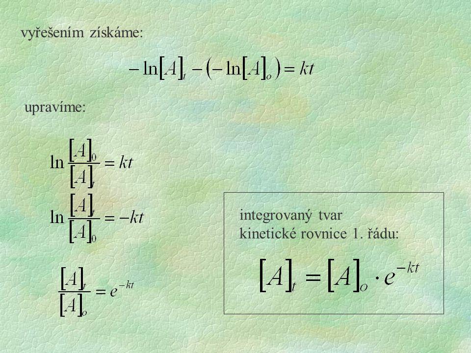 kinetické rovnice 1. řádu: