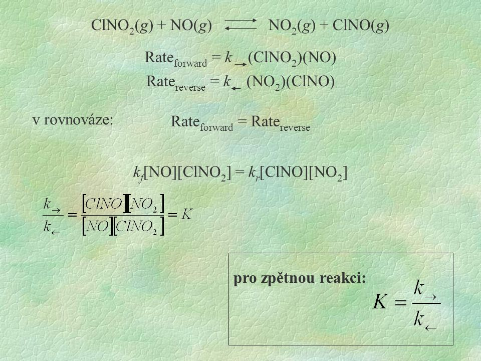 ClNO2(g) + NO(g) NO2(g) + ClNO(g)