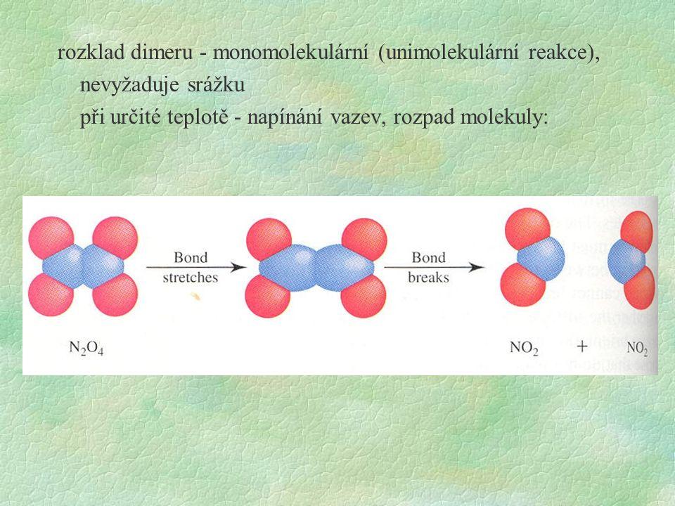 rozklad dimeru - monomolekulární (unimolekulární reakce), nevyžaduje srážku při určité teplotě - napínání vazev, rozpad molekuly: