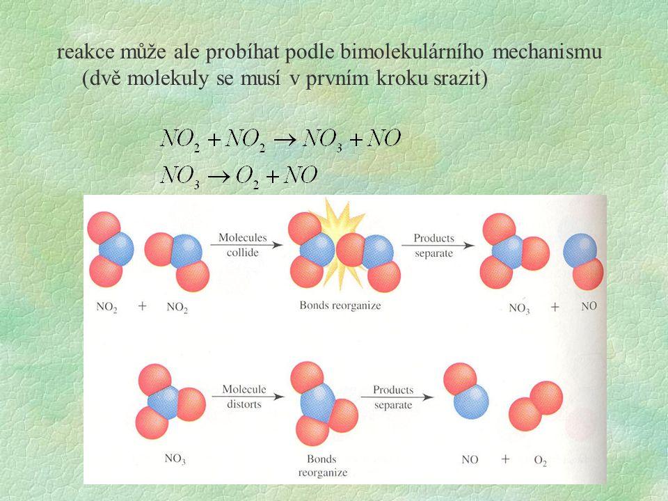 reakce může ale probíhat podle bimolekulárního mechanismu (dvě molekuly se musí v prvním kroku srazit)