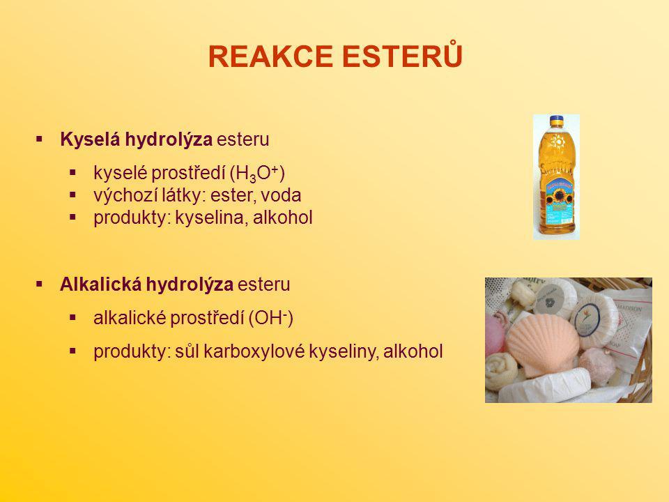 REAKCE ESTERŮ Kyselá hydrolýza esteru kyselé prostředí (H3O+)