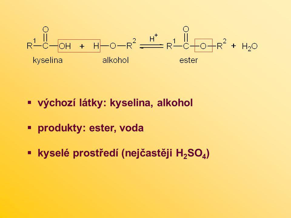 výchozí látky: kyselina, alkohol