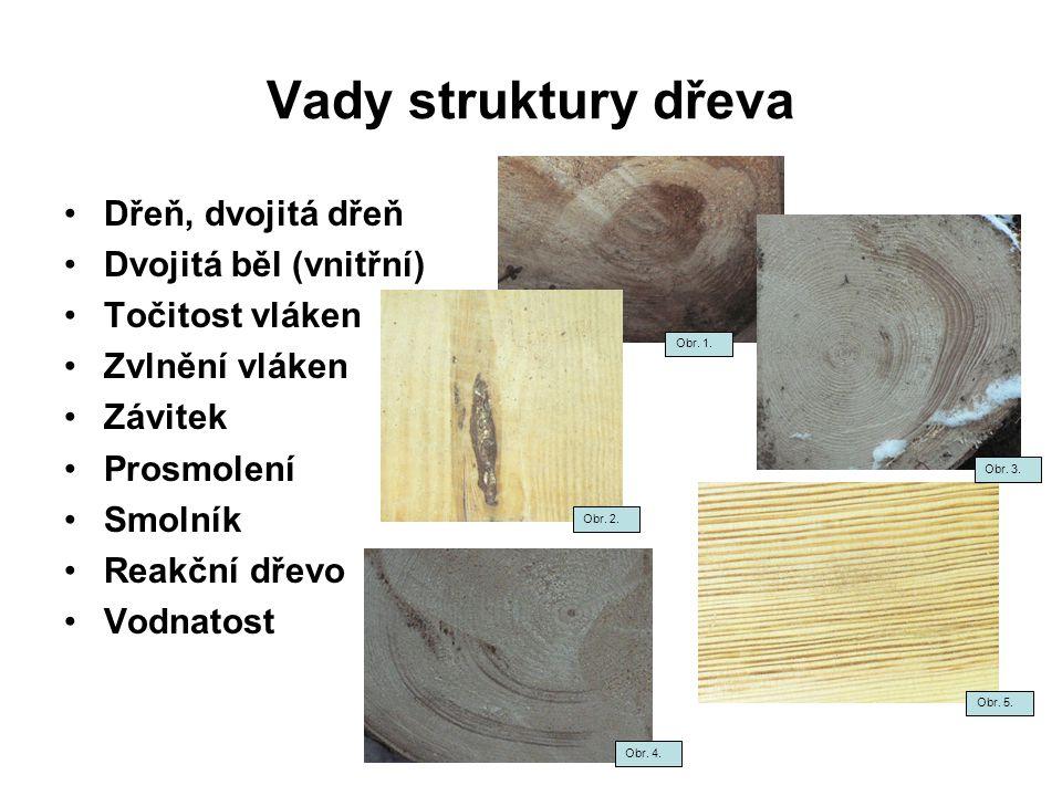 Vady struktury dřeva Dřeň, dvojitá dřeň Dvojitá běl (vnitřní)
