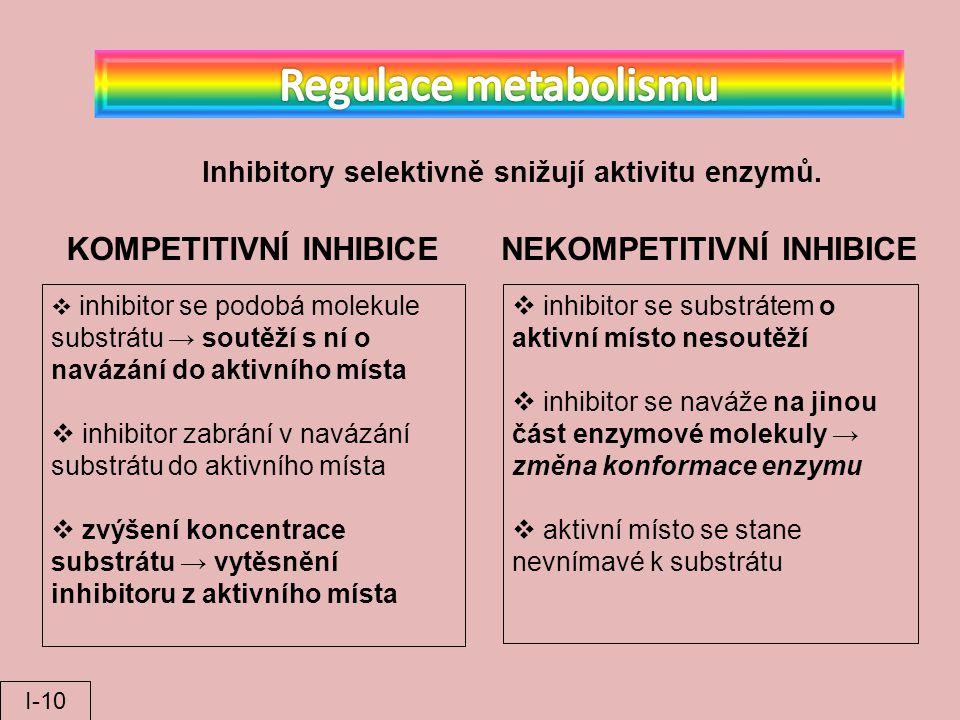 Regulace metabolismu KOMPETITIVNÍ INHIBICE NEKOMPETITIVNÍ INHIBICE
