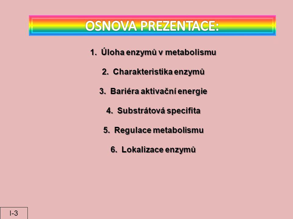 OSNOVA PREZENTACE: Úloha enzymů v metabolismu Charakteristika enzymů