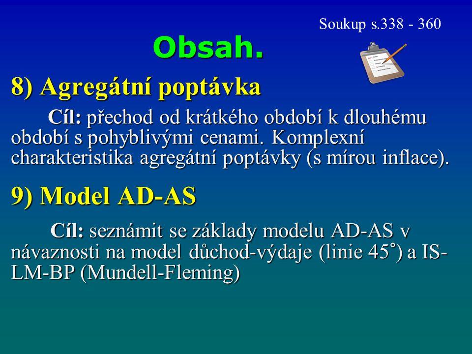 Obsah. 8) Agregátní poptávka 9) Model AD-AS
