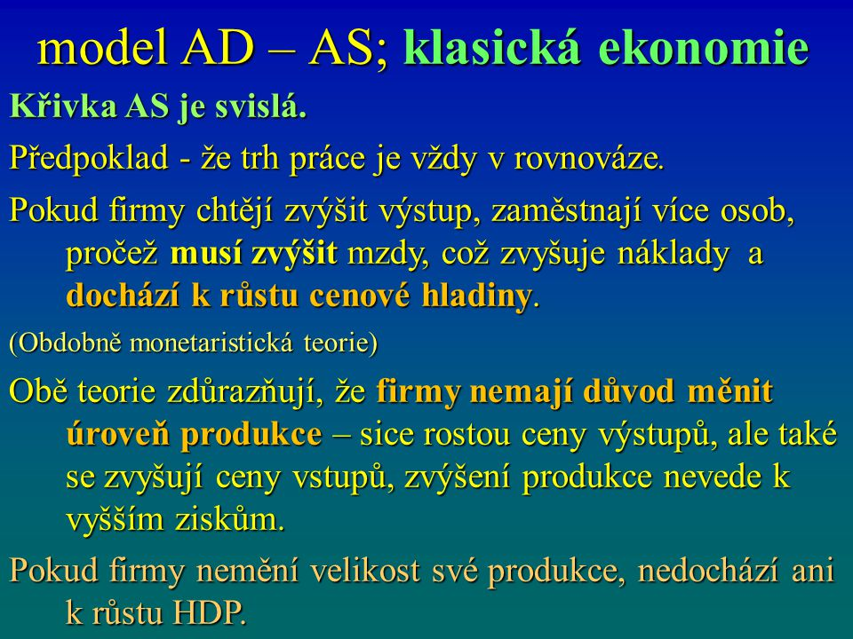 model AD – AS; klasická ekonomie