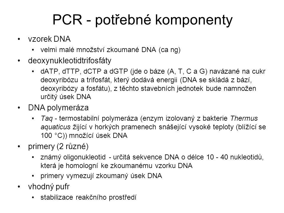PCR - potřebné komponenty