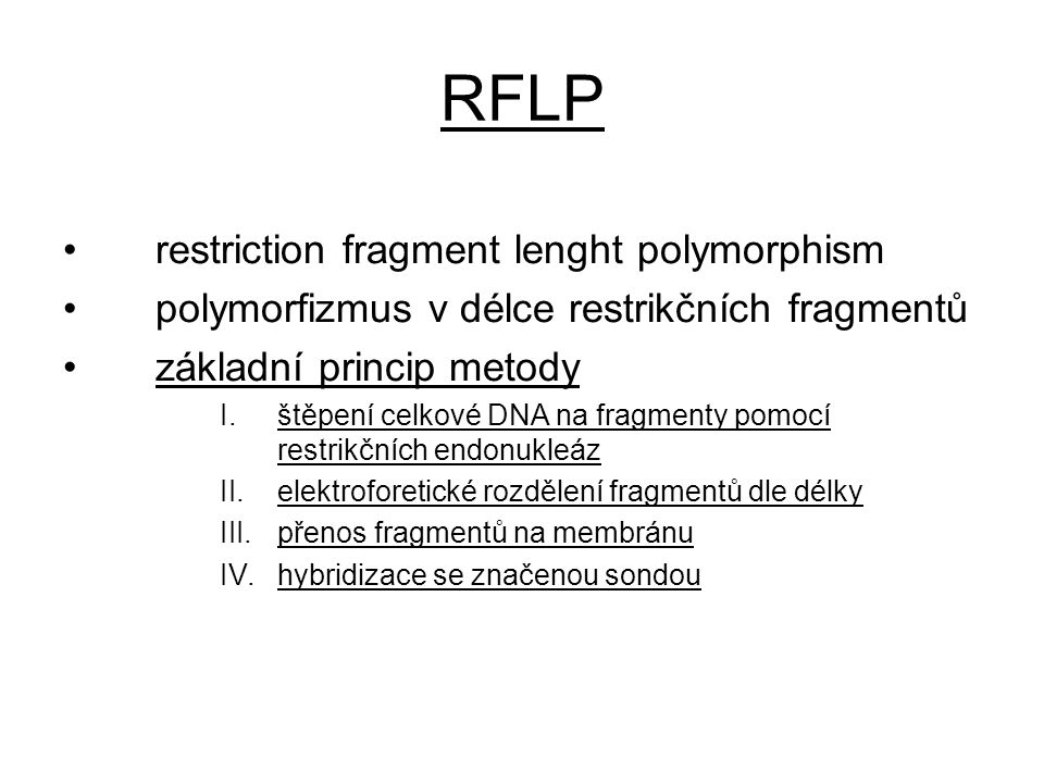 RFLP restriction fragment lenght polymorphism